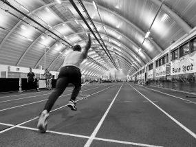 Runner on indoor track
